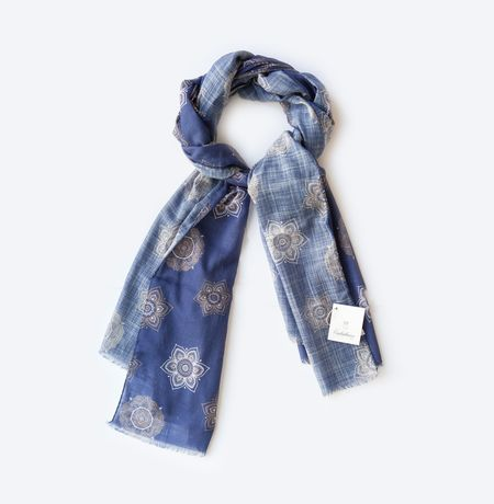 Blue with Flower Patterns Calabrese 1924 Cotton Scarf