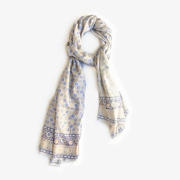 Beige with Patterns Calabrese 1924 Cotton Scarf