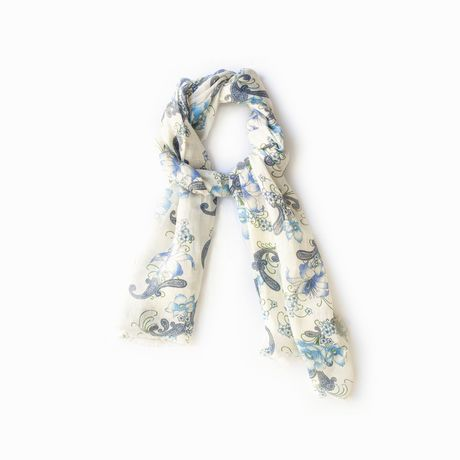 White with Flower Patterns linen and silk Calabrese 1924 Scarf