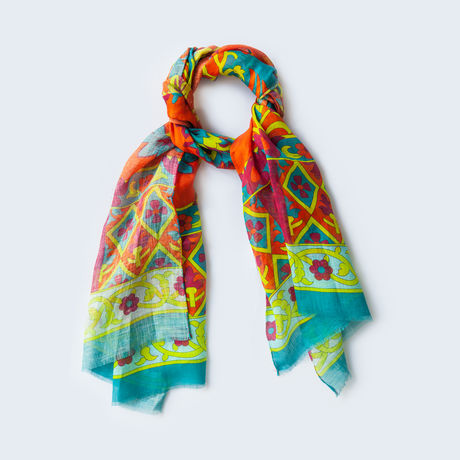 Coloured linen and silk Calabrese 1924 Cotton Scarf
