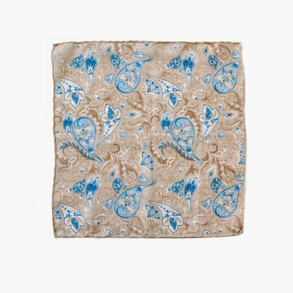 Beige with flower patterns hand-tipped pocket square 100% linen