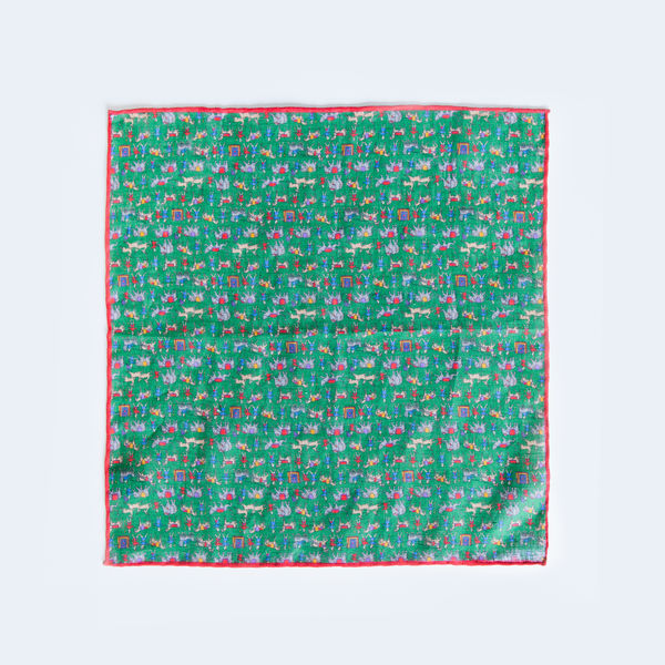 Green with indian patterns hand-tipped pocket square 100% linen