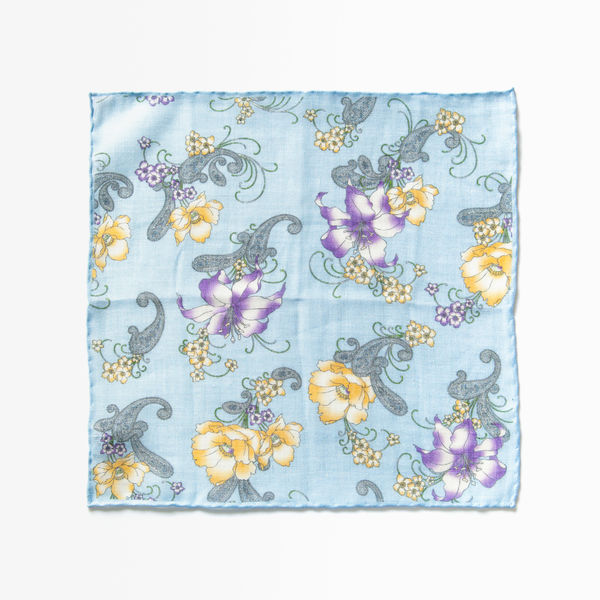 Blue with flower patterns hand-tipped pocket square 100% linen