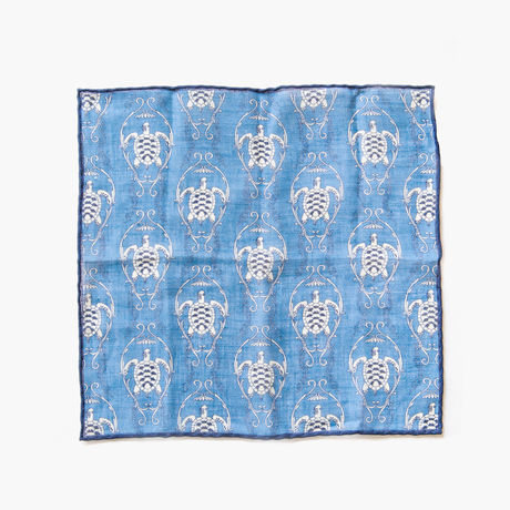 Blue with turtle patterns hand-tipped pocket square 100% linen