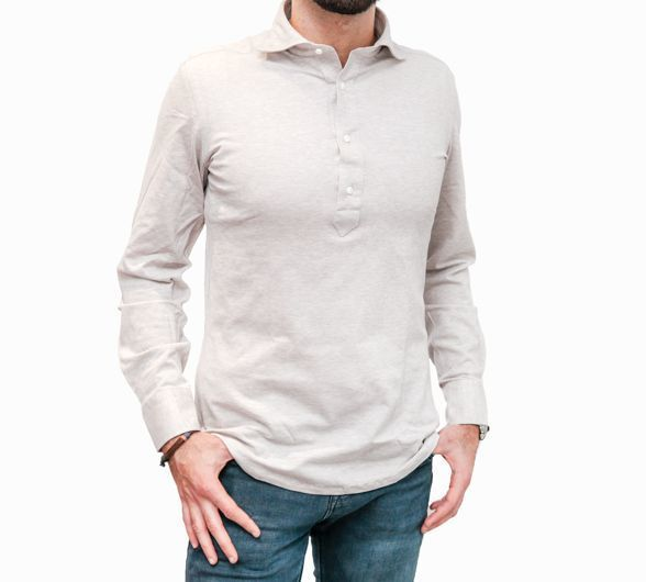 Mercerized Coton Pique Long Sleeve Beige Polo Shirt