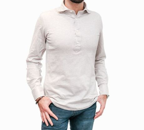 Polo camicia beige in cottone stretch slim fit