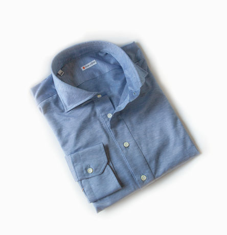 Slim fit Mercerized Coton Long Sleeve Denim Blue Shirt Polo