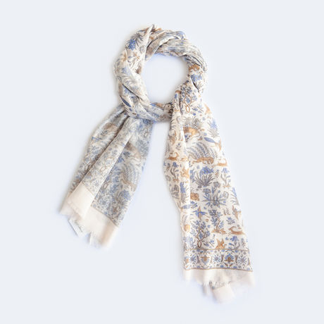 Beige with Animal Patterns Calabrese 1924 Cotton Scarf
