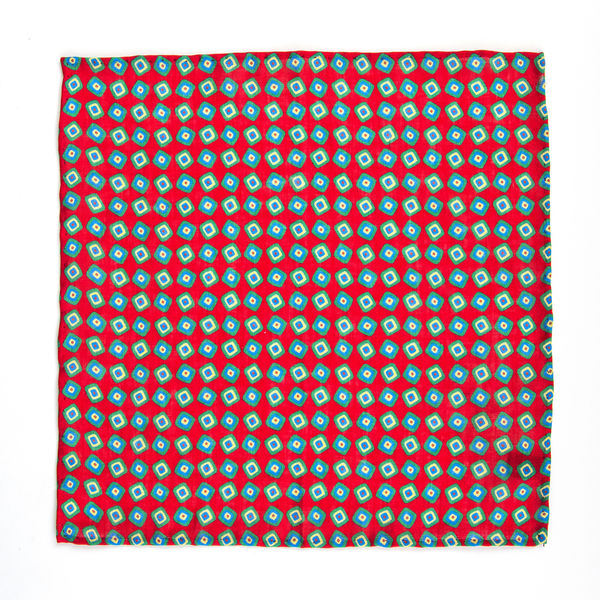 red Pocket Square with vintage patterns Francesco Marino for Zampa di Gallina