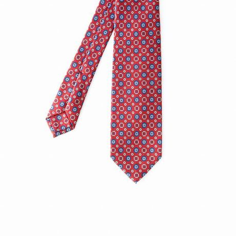 Unlined Red with Ancient Madder Patterns Francesco Marino Napoli Tie