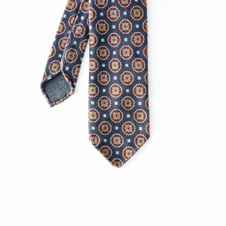Unlined Blue with Vintage Ancient Madder Patterns Francesco Marino Napoli Tie
