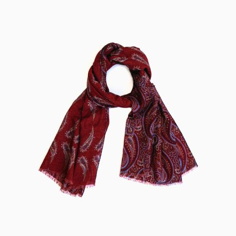 Burgundy with flower patterns Calabrese 1924 Merino Wool Scarf
