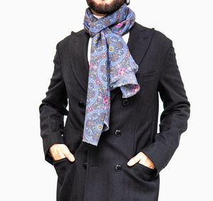 Grey with patterns Calabrese 1924 Merino Wool Scarf