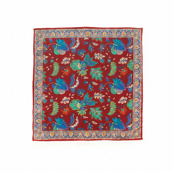 Double-sided red with flower patterns Calabrese 1924 hand-tipped Pocket square