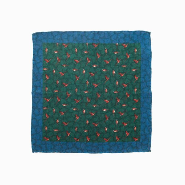 Double-sided green with birds patterns Calabrese 1924 hand-tipped Pocket square