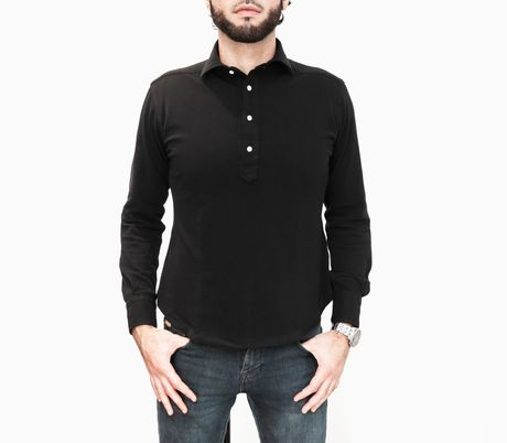 Slim fit Coton Pique Long Sleeve Black Polo Shirt
