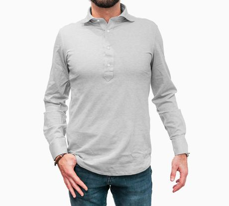 Polo camicia grigia in cottone stretch slim fit
