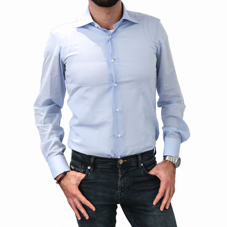 Light Blue Slim Fit Zampa di Gallina shirt