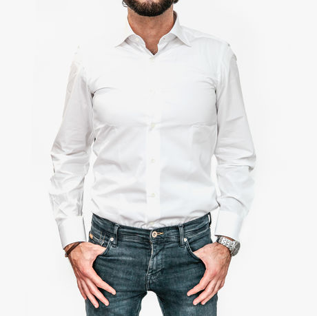 White Slim Fit Zampa di Gallina shirt