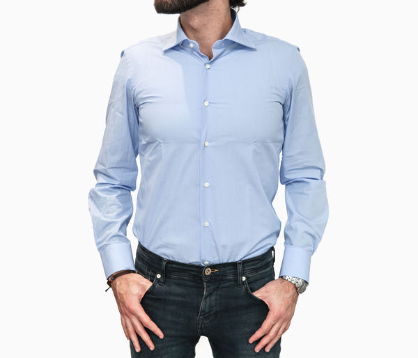 Camicia Zampa di Gallina blu con righe Slim Fit
