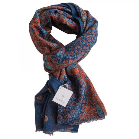 Blue and Rust with flower patterns Calabrese 1924 Merino Wool Scarf