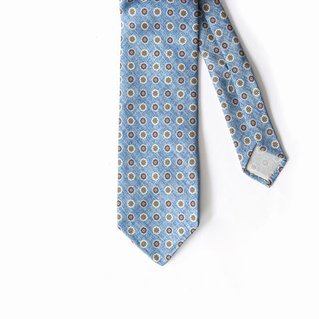 Clear Blue Denim with Ancient Madder patterns Calabrese 1924 necktie
