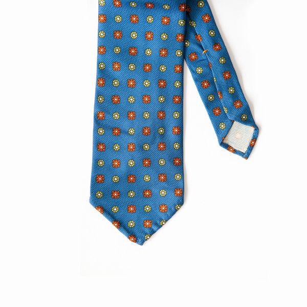 Blue with Ancient Madder patterns Calabrese 1924 necktie