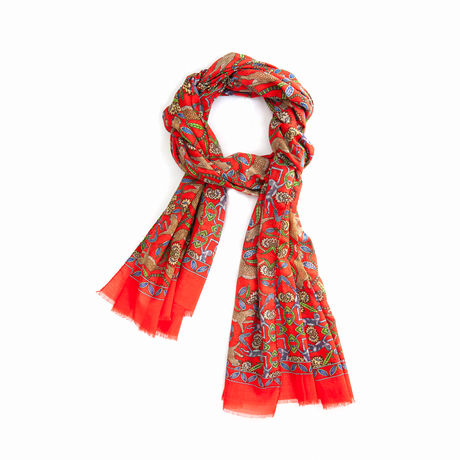 Red with Patterns Calabrese 1924 Cotton Scarf