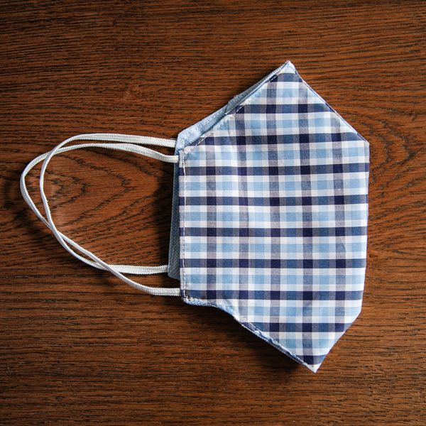 Navy and Blue Gingham Cotton Face Mask Zampa di Gallina