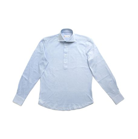 Polo camicia blu in cottone stretch slim fit Zampa di Gallina