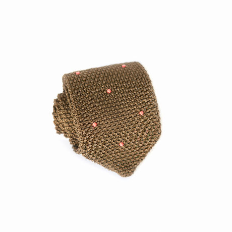 Khaki with Pink Dots Zampa di Gallina 100% silk knitted necktie