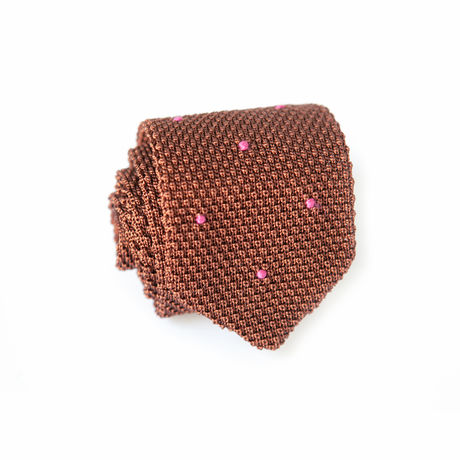 Brown with Pink Dots Zampa di Gallina 100% silk knitted necktie
