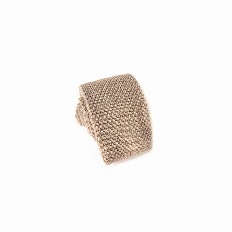Light Brown Zampa di Gallina 100% Wool knitted necktie