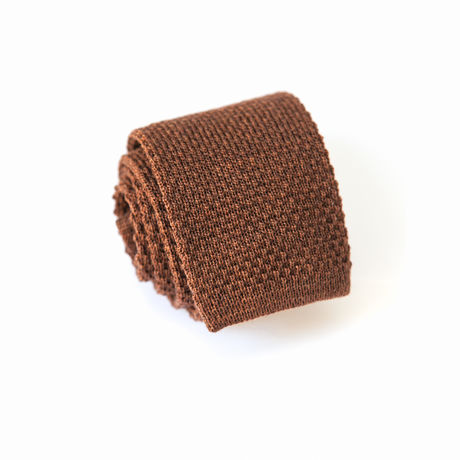 Brown Zampa di Gallina 100% Wool knitted necktie