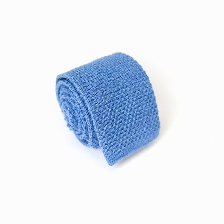 Light Blue Zampa di Gallina 100% Wool knitted necktie