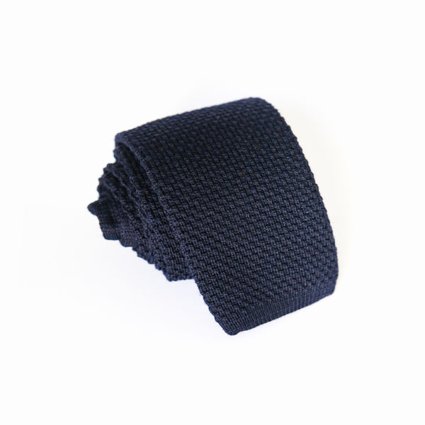 Navy Blue Zampa di Gallina 100% Wool knitted necktie