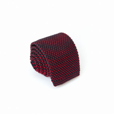 Navy Blue and Burgundy Zampa di Gallina 100% silk knitted necktie