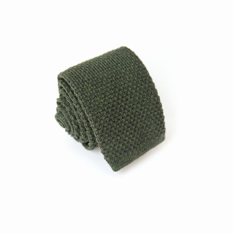 Green Zampa di Gallina 100% Wool knitted necktie