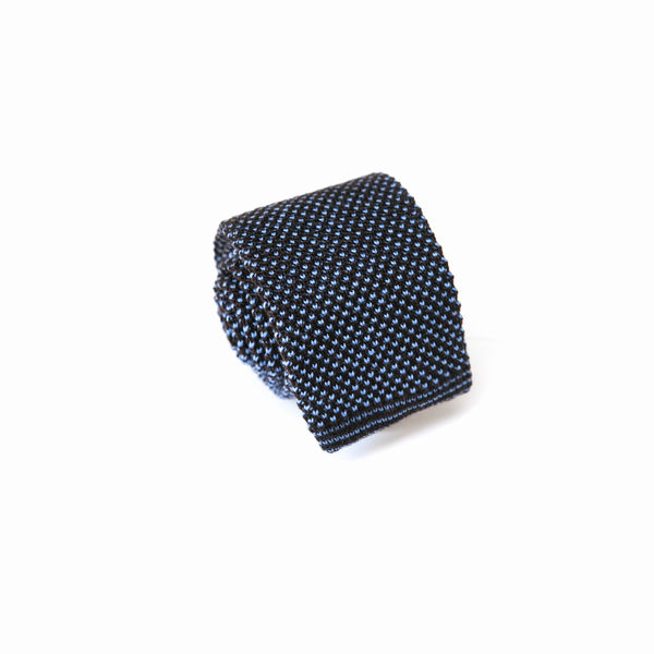 Navy Blue and Light Blue Zampa di Gallina 100% silk knitted necktie