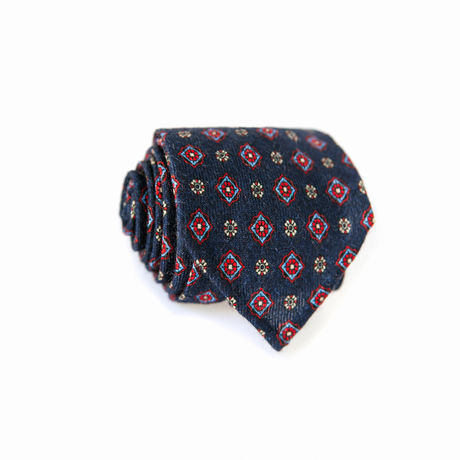 Unlined Space Blue Zampa di Gallina 100% Wool Necktie with Ancient Madder patterns