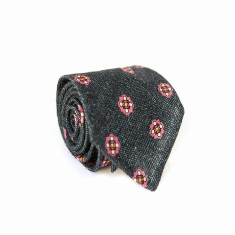 Unlined Denim Zampa di Gallina 100% Wool Necktie with Ancient Madder patterns