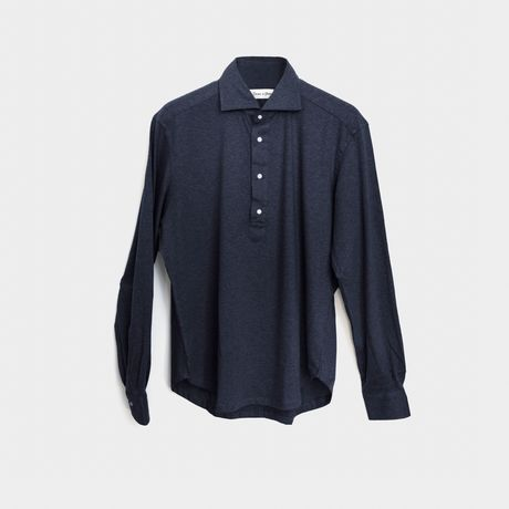 Slim fit Long Sleeve Prussian Blue Polo Shirt in Cotton and Cashmere