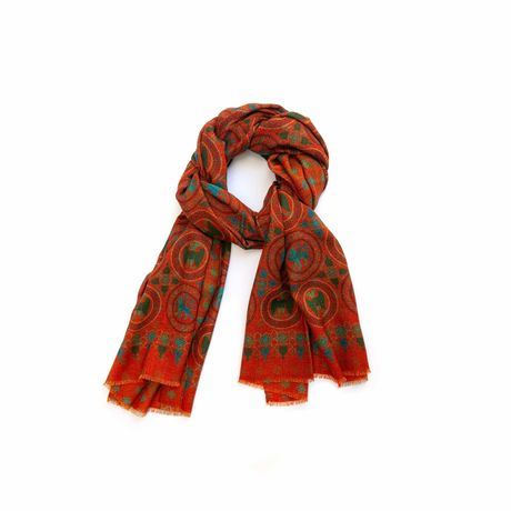 Rust with patterns Calabrese 1924 Merino Wool Scarf