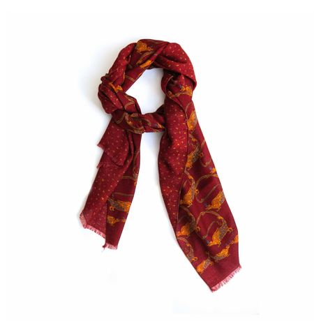 Burgundy with patterns Calabrese 1924 Merino Wool Scarf