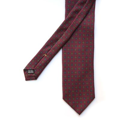 Burgundy with BLue and Green Ancient Madder patterns Calabrese 1924 necktie