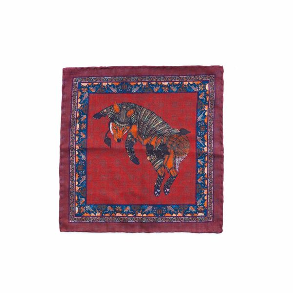 Double-sided burgundy with fox pattern Calabrese 1924 hand-tipped Pocket square
