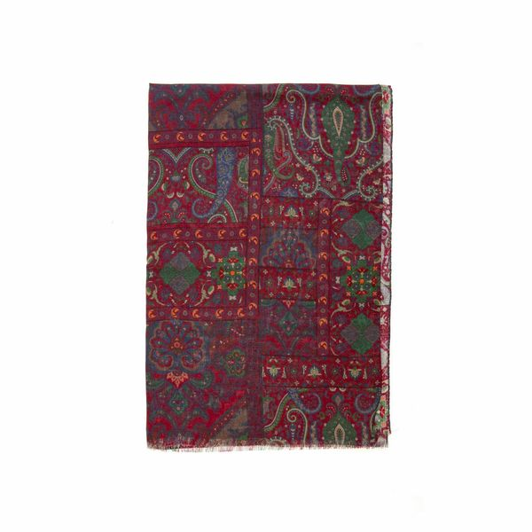 Burgundy with oriental patterns Calabrese 1924 Merino Wool Scarf