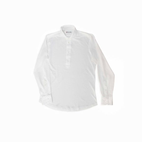 Polo camicia bianca in cottone e lino stretch slim fit