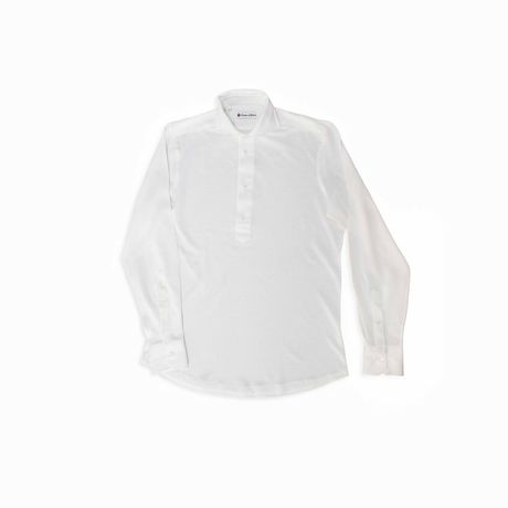 Slim fit Cotton and Linen Long Sleeve White Polo Shirt