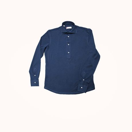 Slim fit Cotton and Linen Long Sleeve Navy Blue Polo Shirt